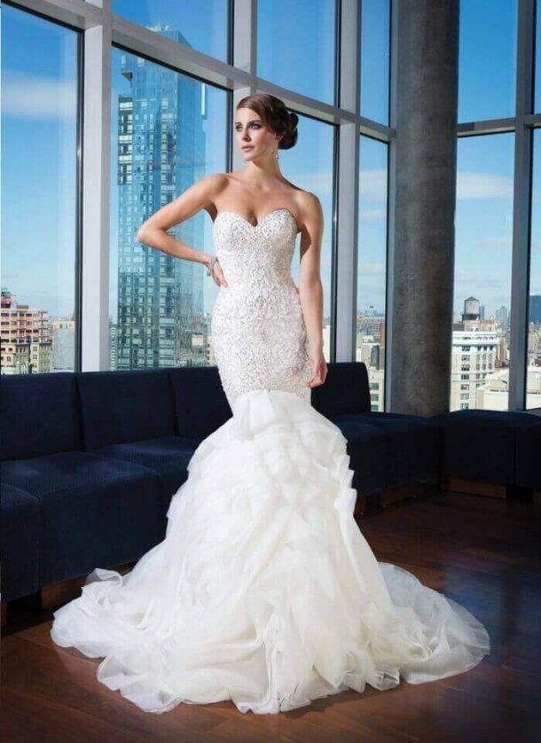 2015 Beaded Mermaid Wedding Gown With Organza Train