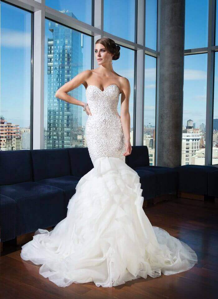 2015 Beaded Mermaid Wedding Gown With Organza Train