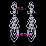 Full Rhinestone Long Drop Bridal Earrings