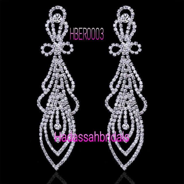 Full Rhinestone Long Drop Bridal Earrings