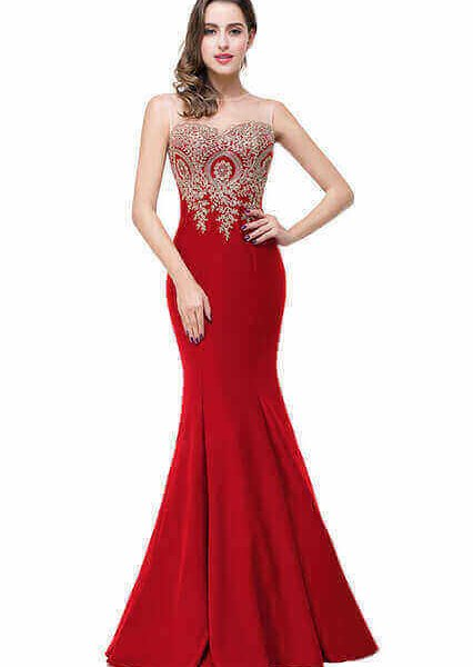 Gold Applique Reception Dress