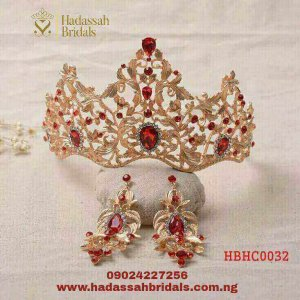 MAGNIFICENT RED CRYSTAL GOLD BRIDAL TIARA