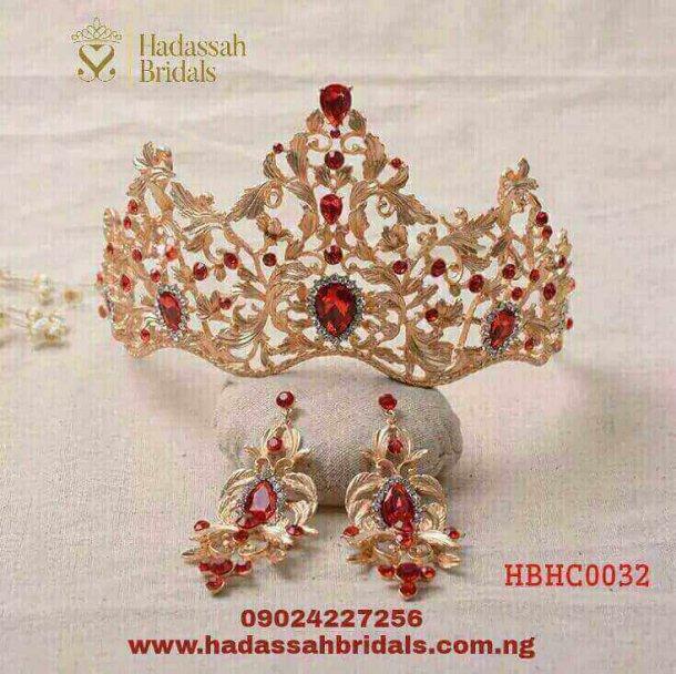 MAGNIFICENT RED CRYSTAL GOLD BRIDAL TIARA
