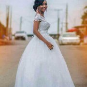 PRINCESS CAP SLEEVE BALL WEDDING GOWN