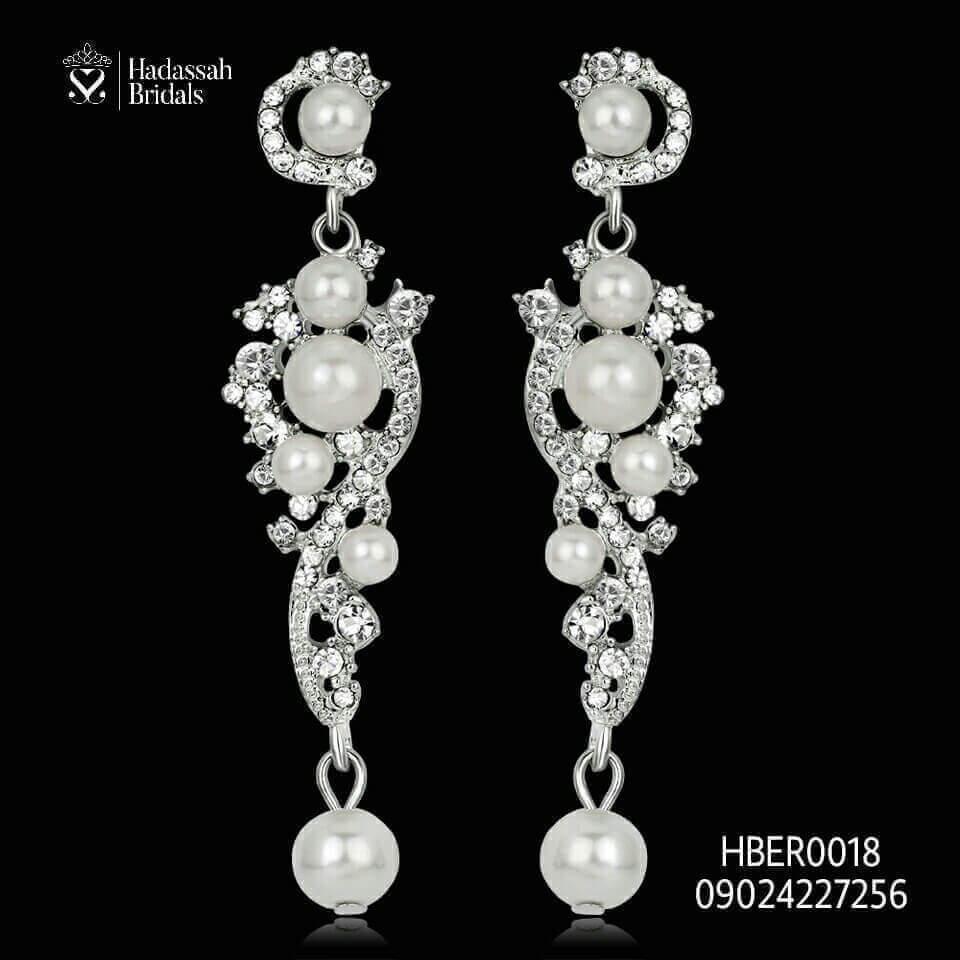 Pearl Rhinestone Bridal Earrings