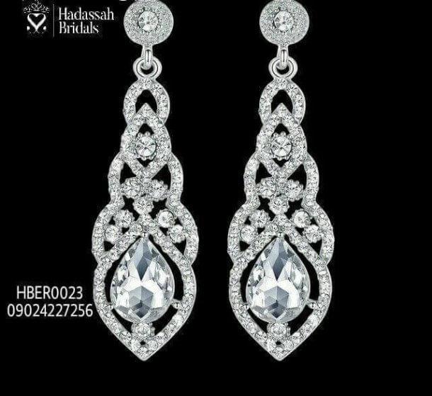 Crystal Drop Rhinestone Bridal Earrings