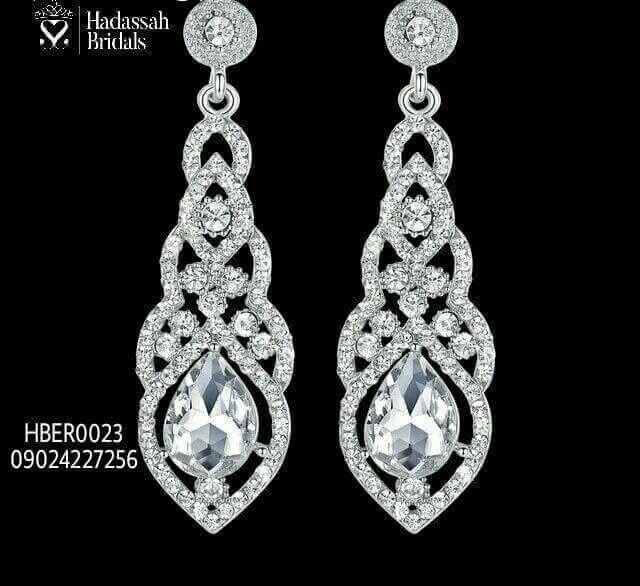 Crystal Drop Rhinestone Bridal Earrings